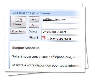 envoyer un cv par mail exemple Envoyer son CV avec Outlook   MonCV.com envoyer un cv par mail exemple